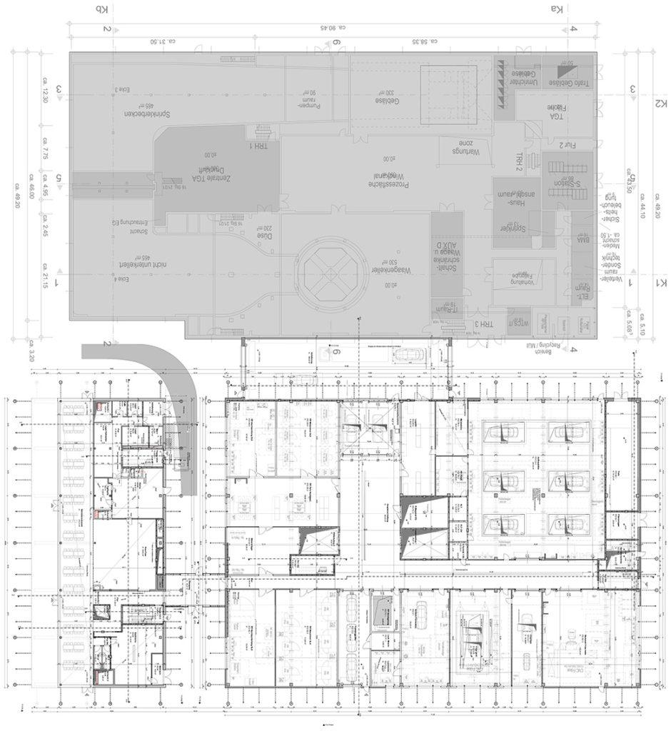 AUDI Aerodynamik Enwircklungszentrum Grundriss Erdgeschoss
