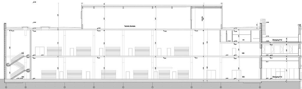 AUDI Aerodynamik Enwircklungszentrum Längsschnitt Produktionshalle