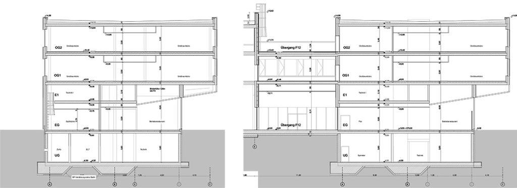 AUDI Aerodynamik Enwircklungszentrum Querschnitt Kantine und Büros