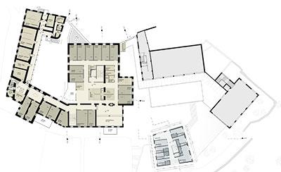 Alten- und Pflegeheim mit Mädchenwohnheim Grundriss 1. Obergeschoss