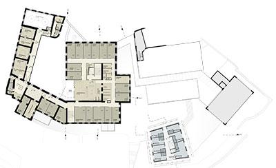 Alten- und Pflegeheim mit Mädchenwohnheim Grundriss 2. Obergeschoss