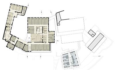 Alten- und Pflegeheim mit Mädchenwohnheim Grundriss 3. Obergeschoss