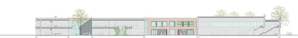Grundschule mit Sporthalle Karlsfeld Seitenansicht 2