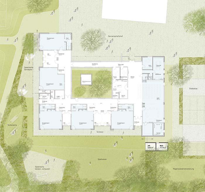 Haus für Kinder Kindergarten Neuburg Grundriss Erdgeschoss