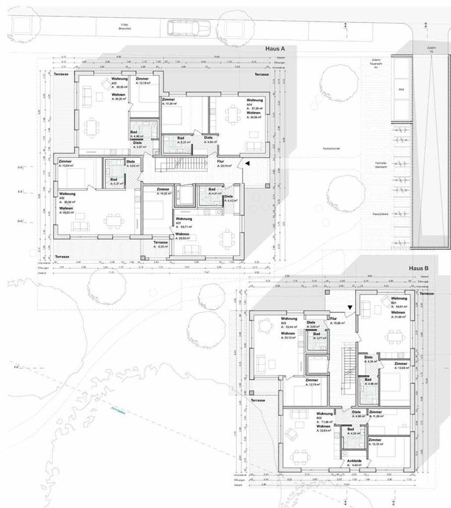 Wohnbebauung Eulertalstrasse Grundrisse Erdgeschoss