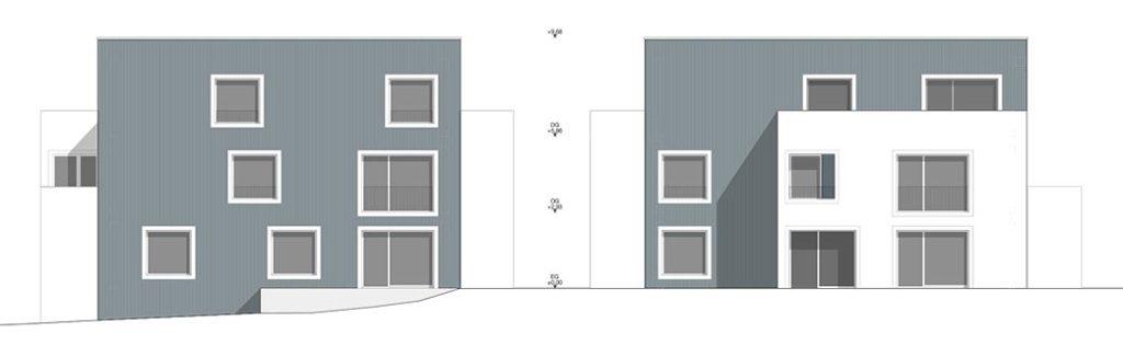 Wohnbebauung Eulertalstrasse Seitenansichten