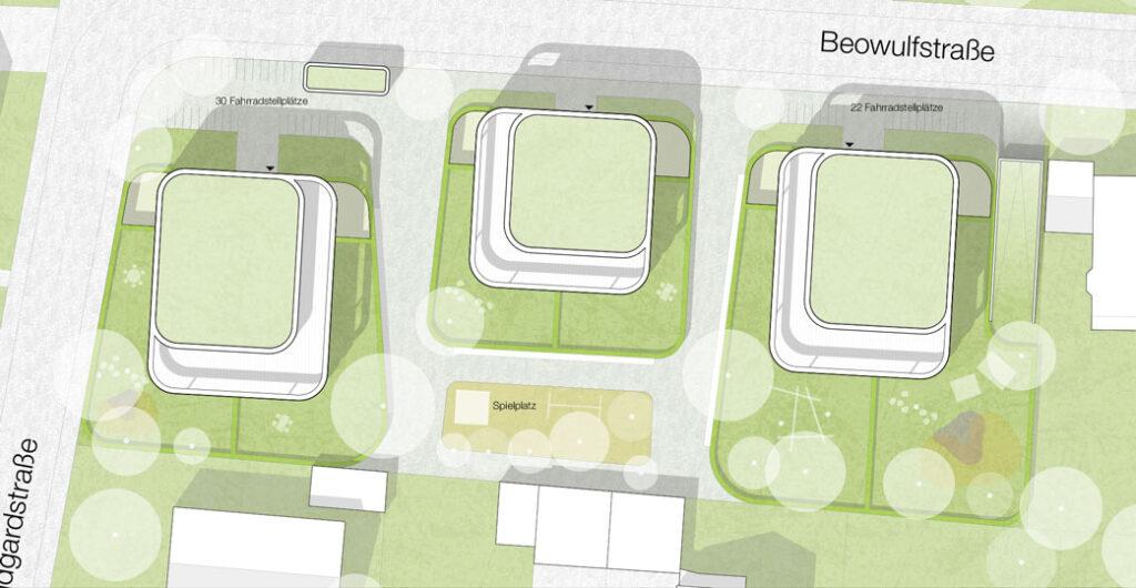 Runde Wohnlandschaft im Grünen Bebauungsplan