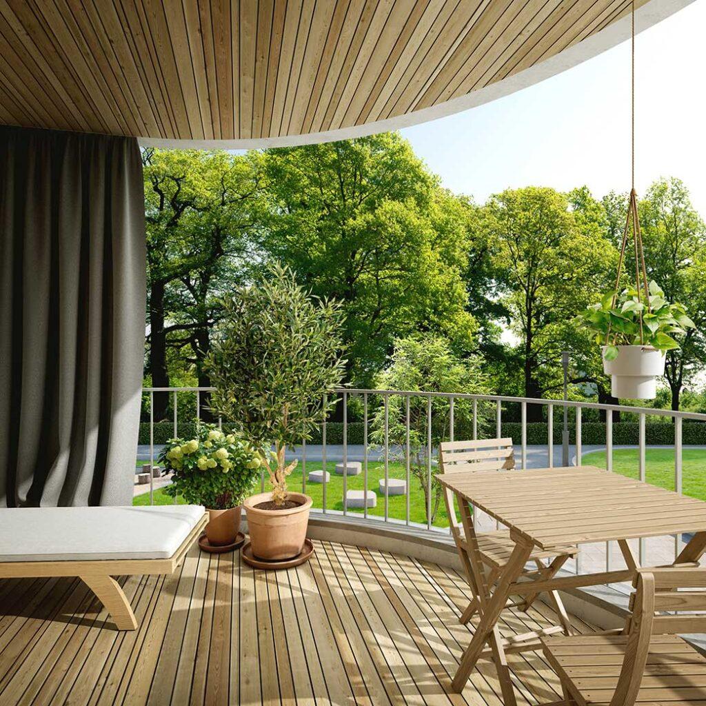 Runde Wohnlandschaft im Grünen Terrasse